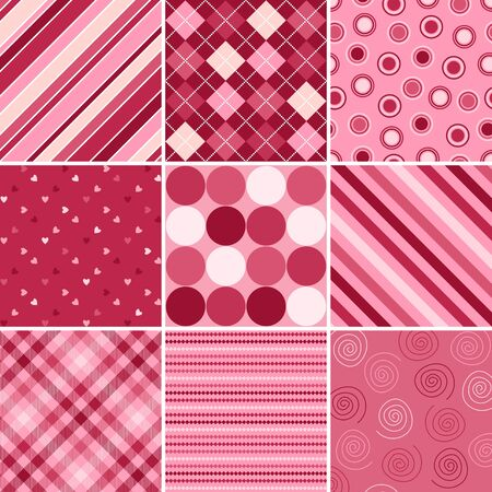 A set of nine background patterns for Valentines day Stock Photo - 4082311