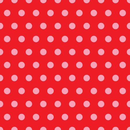 ピンクの水玉の赤い背景のイラスト