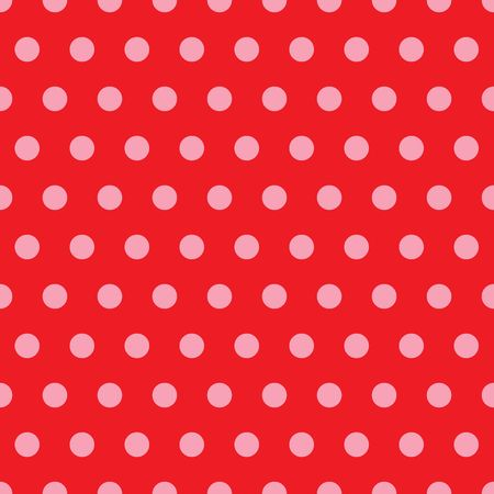 polka dots: An illustration of pink polka dots on red background Stock Photo