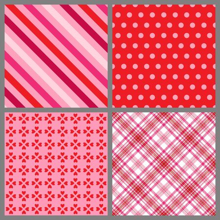 バレンタインデーのための 4 つの背景パターンのセット