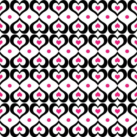 A seamless background pattern of valentine hearts in black and pink Imagens