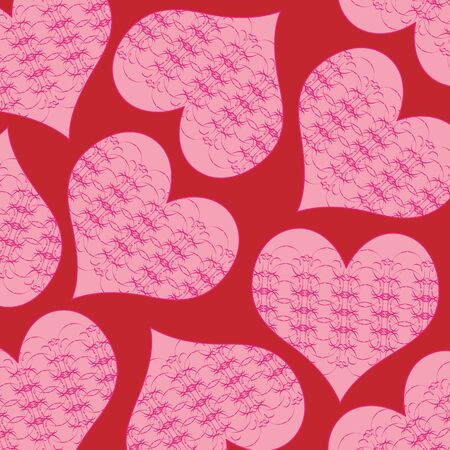 A background of valentine hearts with swirls Imagens