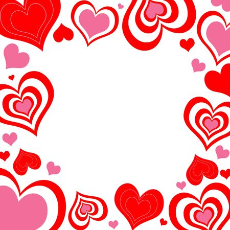 An illustration of valentine hearts border in pink and red illustration