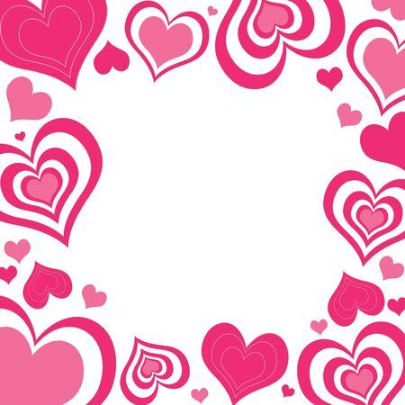 An illustration of valentine hearts border in shades of pink illustration