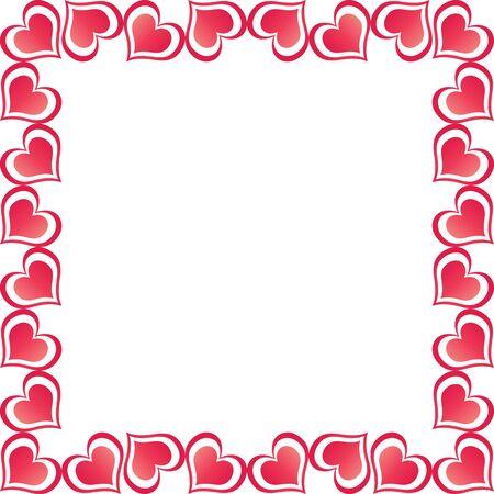 A border illustration of red valentine hearts illustration