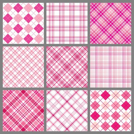 A set of nine plaid patterns in shades of pink