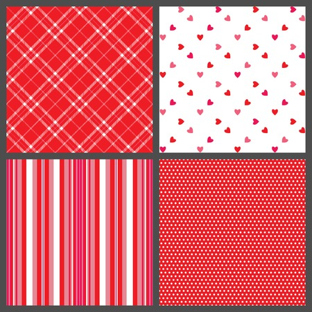 A set of four background patterns for Valentines day