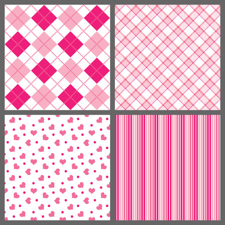 plaid pattern: A set of four background patterns for Valentines day