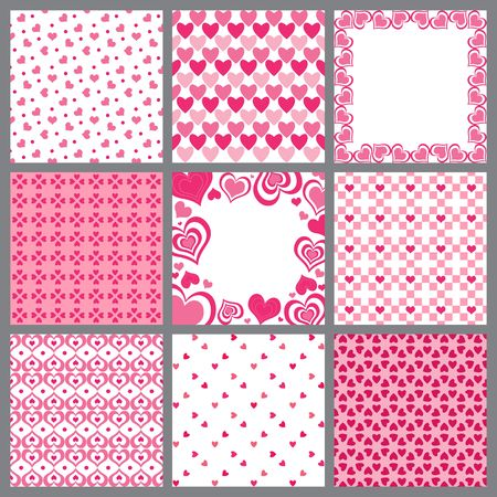 corazones: A set of nine valentine heart patterns Stock Photo