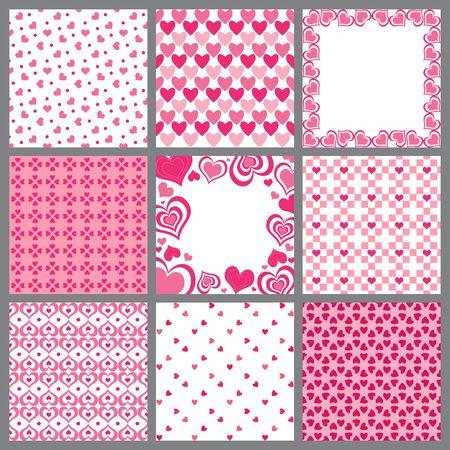A set of nine valentine heart patterns Stock Photo