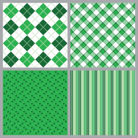 argyle: A set of four background patterns in shades of green