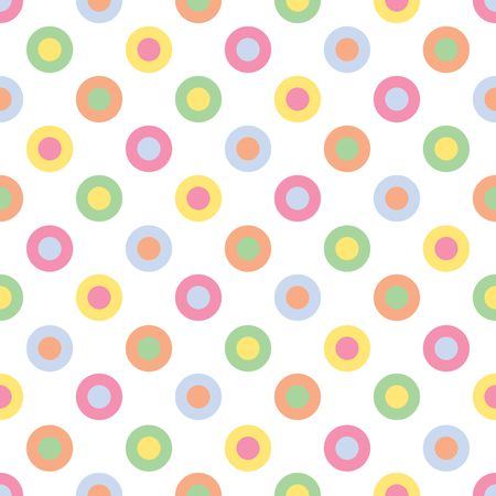 An illustration of pastel colored polka dots