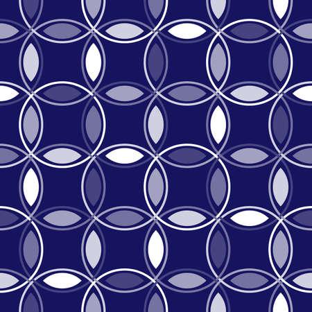 interlocking: An illustration of interlocking circles in shades of blue Stock Photo