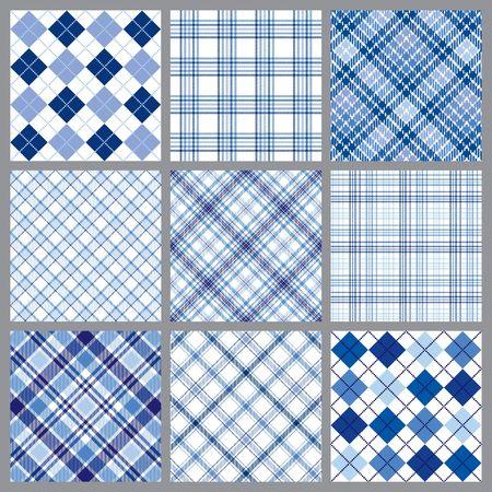 9 개의 파란색 격자 무늬 패턴 집합의 삽화 스톡 콘텐츠
