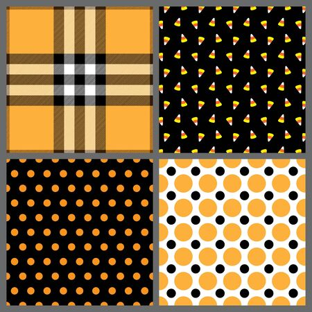 A set of four background patterns for Halloween Stock Photo