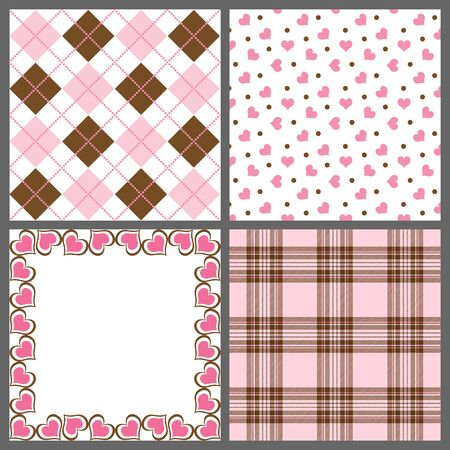 A set of nine background patterns for Valentines day