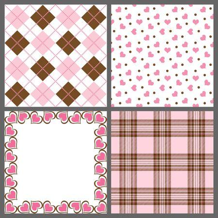 A set of nine background patterns for Valentines day Zdjęcie Seryjne - 6127249