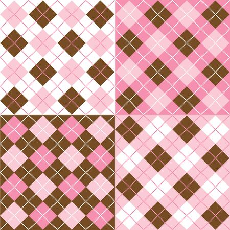 brown background: A set of four argyle background patterns