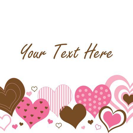 テキスト用のスペースとピンクと茶色の心のパターン