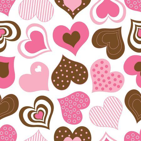ピンクと茶色の心のパターン 写真素材