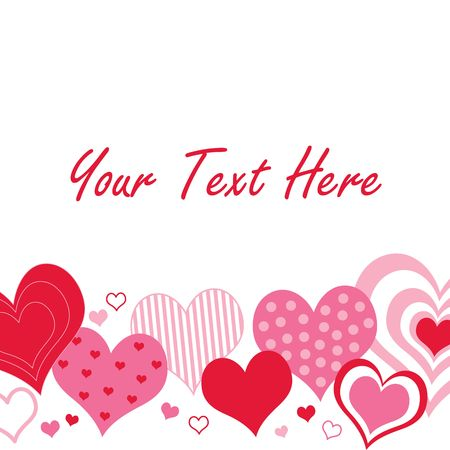 A pattern of pink and red hearts with space for text Imagens