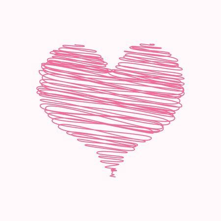テキストのスペースで走り書きのピンクのハート バレンタイン カード