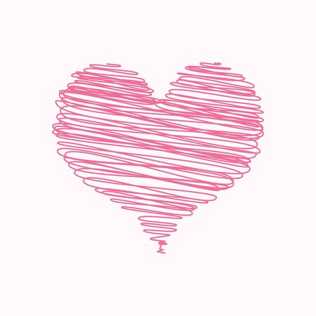 A scribbled pink heart valentine card with space for text Stock Photo