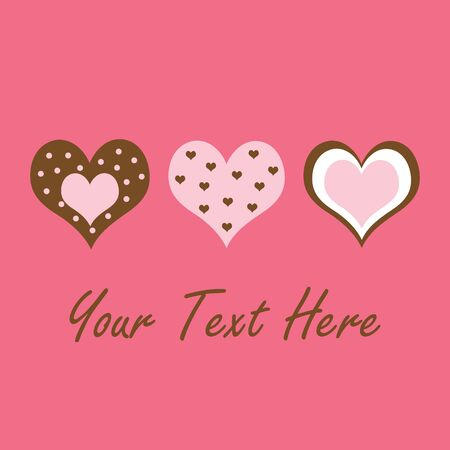 An illustration of pink and brown hearts with space for text Imagens