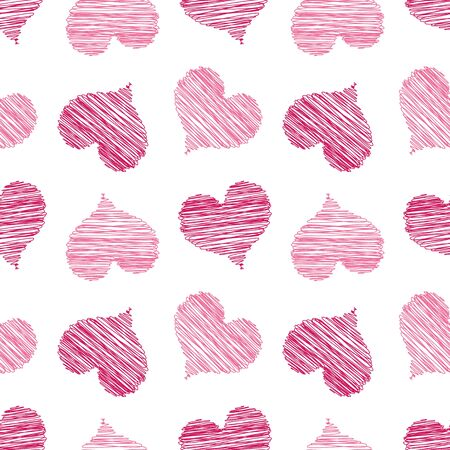A seamless pattern of scribbled pink hearts