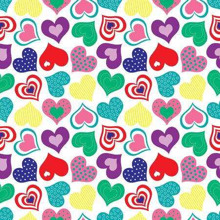 A seamless pattern of brightly colored hearts