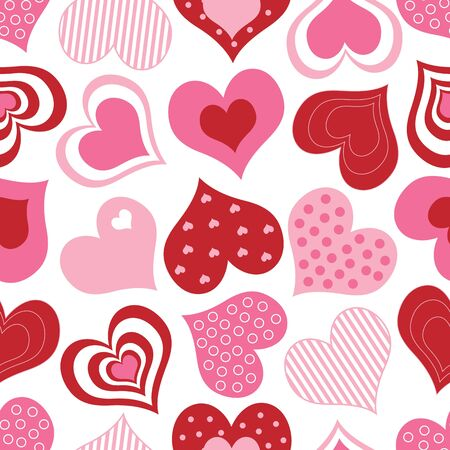 A pattern of pink and red hearts photo