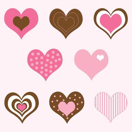 ピンクと茶色のバレンタインの心のセット