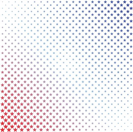 Red and blue halftone stars background illustration