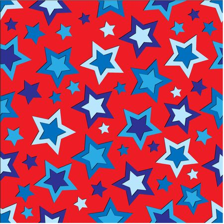 An illustration of blue stars on a red background