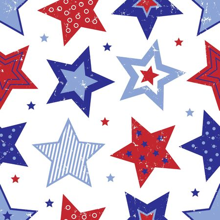 An illustration of red, white and blue stars with distressed texture