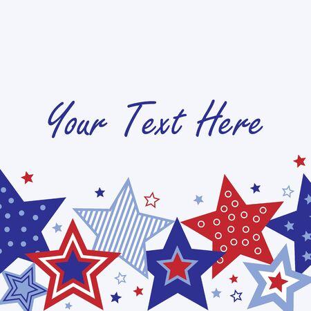 テキスト用のスペースと赤、白と青の星の図 写真素材