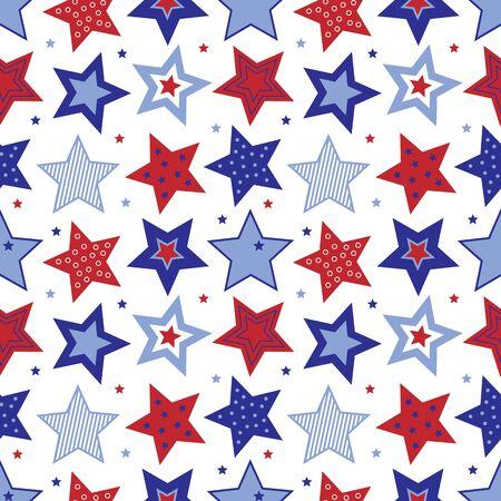 赤、白と青の星の図