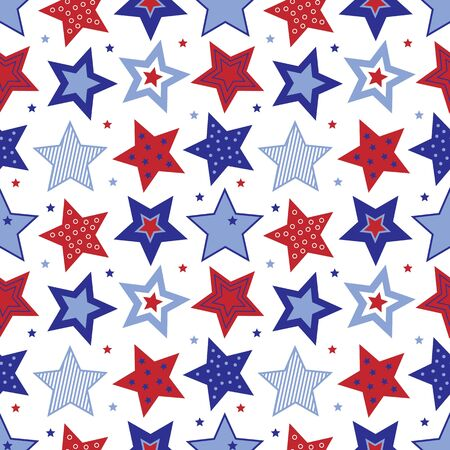 An illustration of red, white and blue stars