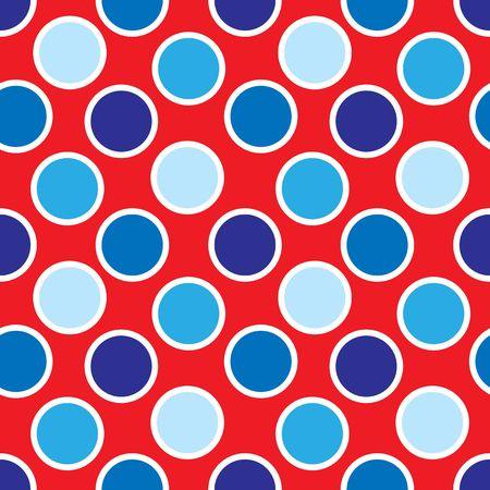 赤、白および青の水玉模様ドット パターンのイラスト 写真素材