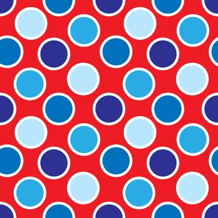 An illustration of red, white and blue polka dots pattern