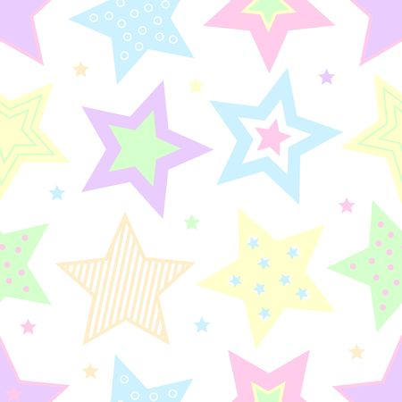 A colorful background illustration of pastel stars