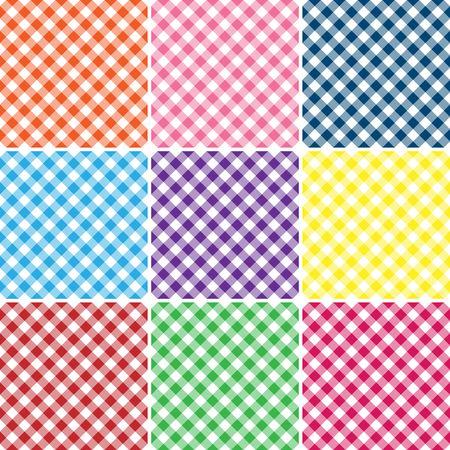 9 つの明るい色のギンガム チェック柄のイラスト
