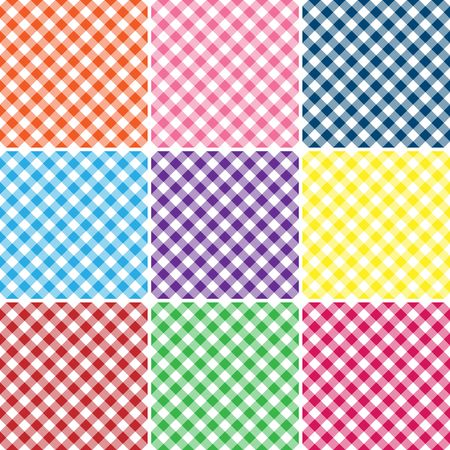 An illustration of a gingham plaid in nine bright colors illustration