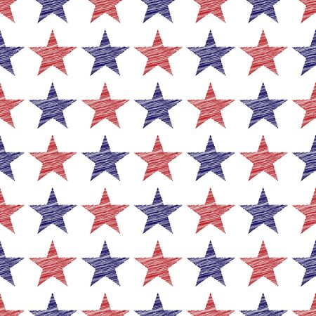 An illustration of seamless pattern of scribbled red and blue stars