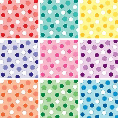 Een illustratie van een polka dot patroon in negen felle kleuren