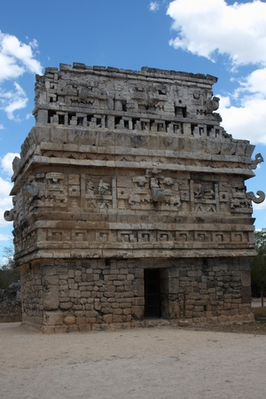mayan riviera: temple with the masks of the Maya god of rain chac, at Chichen Itza ruin, Mexico. Stock Photo
