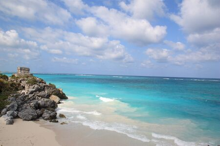 roo: The blue Caribbean Sea in the state of Quintana Roo, Mexico.
