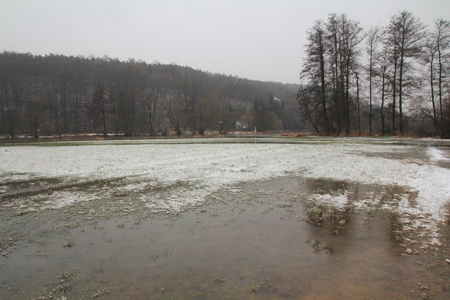 flooded winter landscape near Schwandorf in bavaria photo