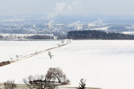beautiful winter landscape near Schwandorf in bavaria photo