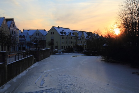 The city Schwandorf in bavaria on a sunny winter evening Stock Photo - 12420125